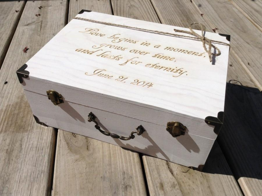 Mariage - Large Engraved Wooden Card Box Suitcase Card Holder Rustic Wedding Whitewash