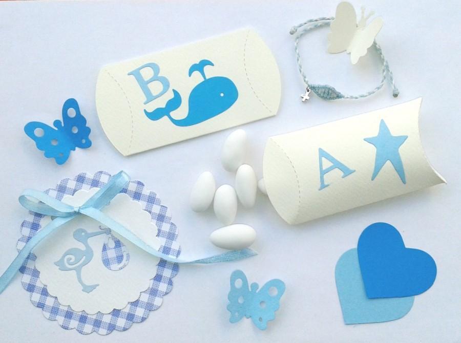 Mariage - Pretty Baptism pillow boxes/bombonieres/baby boy shower favor box/christening baptism/whale/star/ballon/greek alphabet monogram/party candy