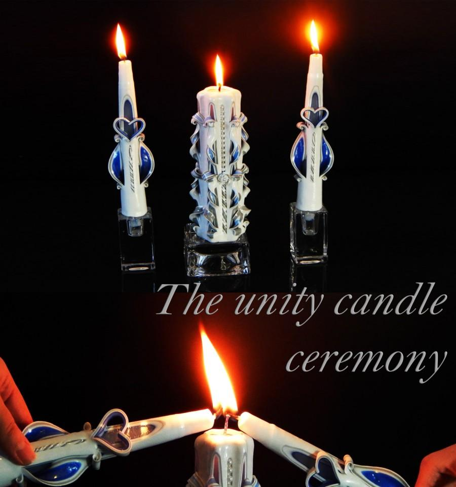 Mariage - Royal Blue and Silver Unity Candle Set, wedding candles, unity candle, unity candle set, carved candle, candles
