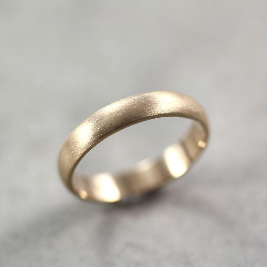 b39495020a9af Mens Wedding Band, Matte Brushed Gold Men's Or Women's Unisex 4mm ...