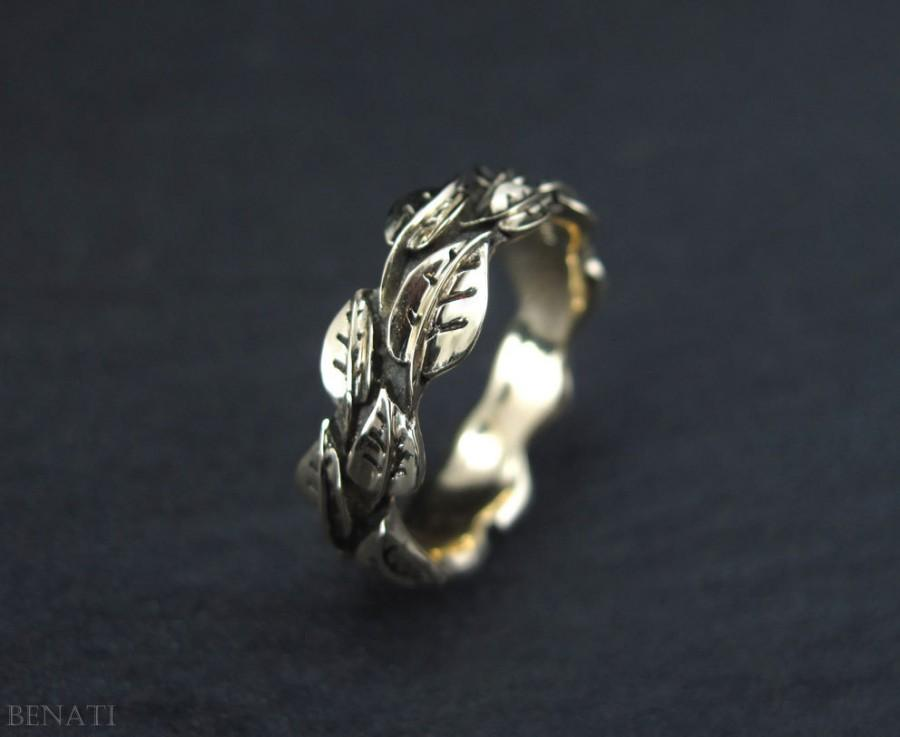 wedding leaf ring gold leaf wedding band handmade gold leaves ring wedding leaves ring forest wedding ring natural floral leaf ring - Leaf Wedding Ring