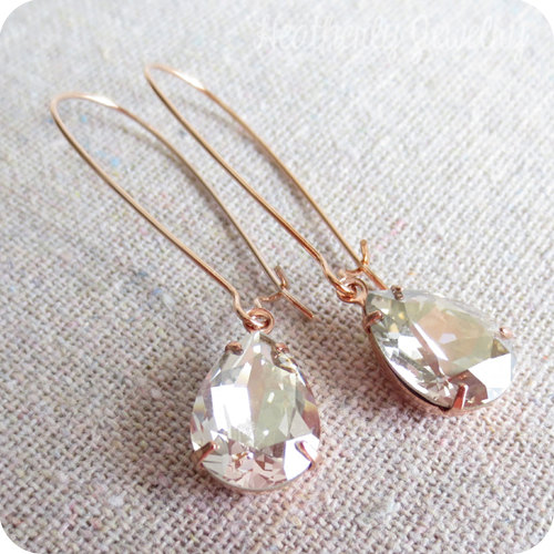 1db45365947646 Swarovski Silver Shimmer Pear Crystal Long Dangling Teardrop Tear Drop Rose  Gold, Gold, Silver Bridal Earrings Wedding Bridesmaids Gifts