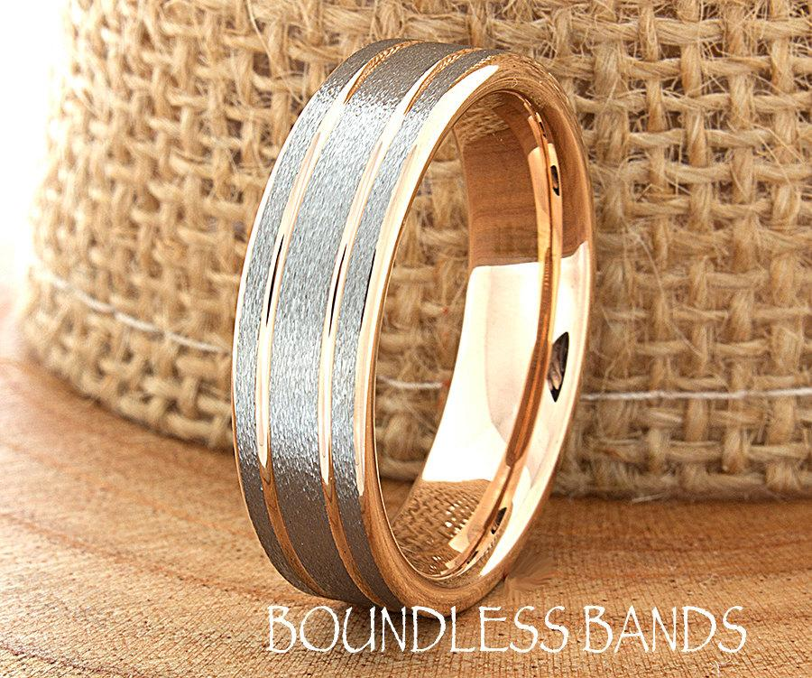 band men s engraved bands tone mens wedding gold cut diamond two