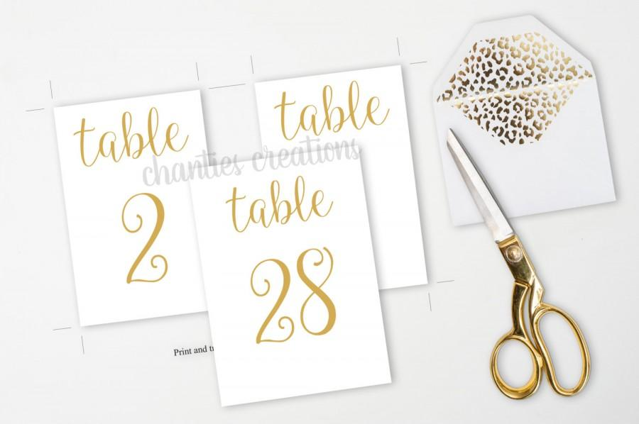 gold table number printable signs 4x6 and 5x7 wedding table numbers