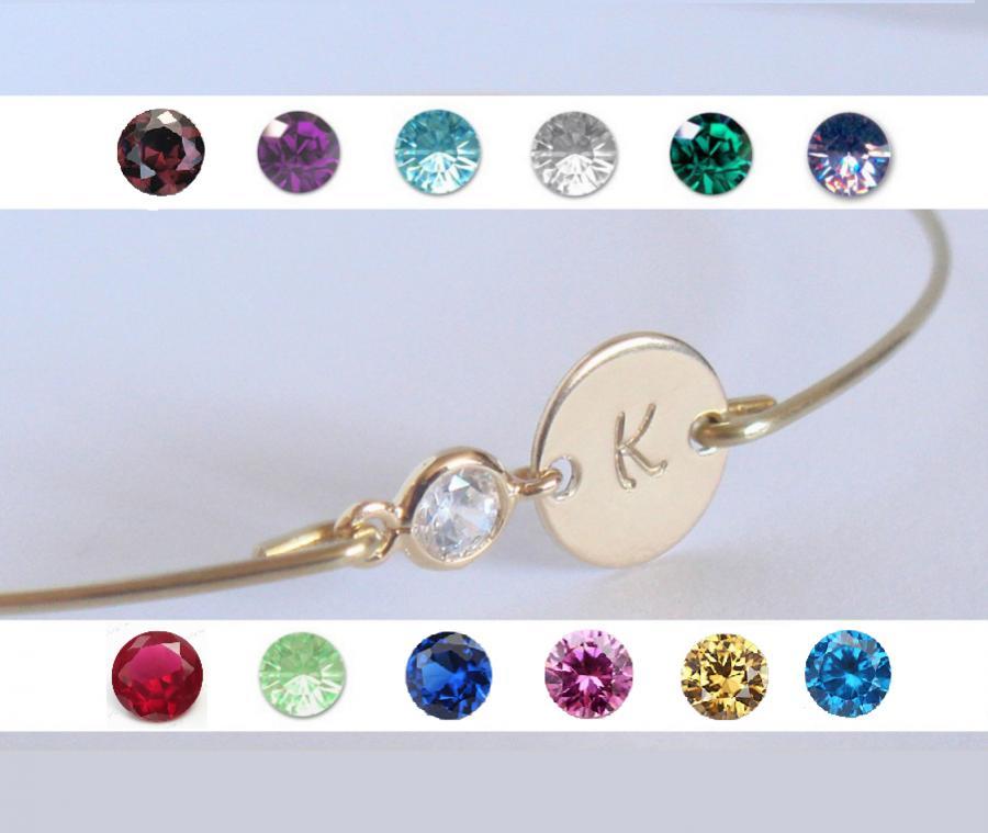 Wedding - Initial and birthstone bridesmaids bracelet gift