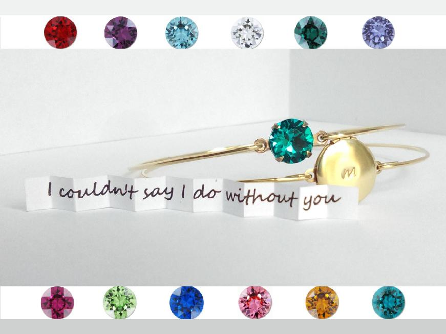 Boda - Initial locket and birthstone bracelets set - Bridesmaids gift