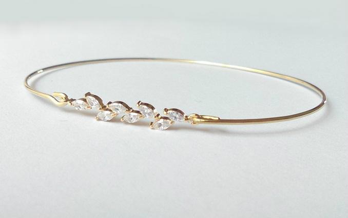 Wedding - Crystal leaf bracelet - Bridesmaids gift