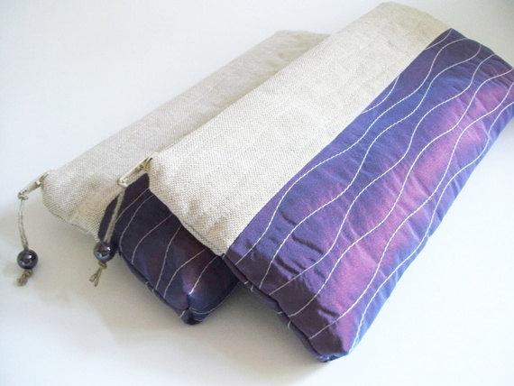 Wedding - Purple Wedding Clutch, Mother Gift, Purple Bridal Purse, Rustic Cosmetic Handbag