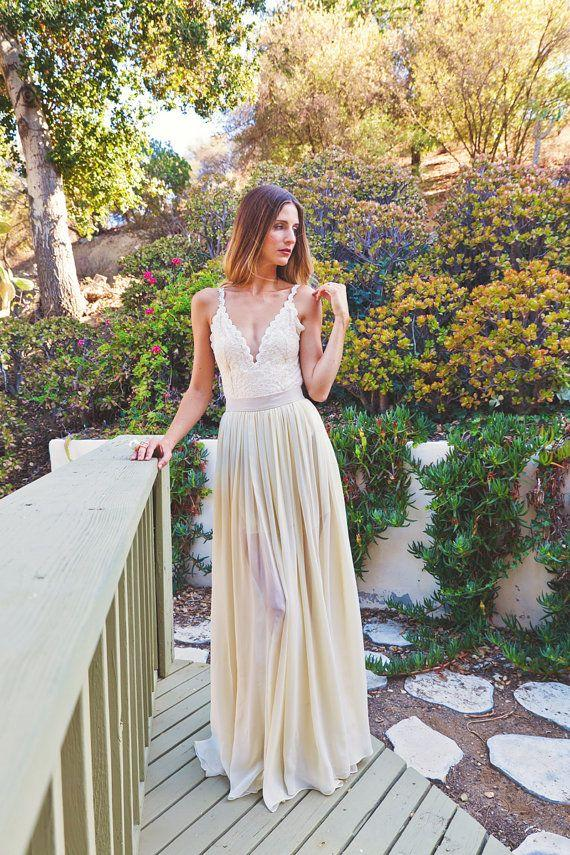Hochzeit - 2-PIECE Lace Backless Wedding Dress. DREAMY SILK Chiffon Skirt   Plunge Front. Low Back Dress. Simple Elegant Bohemian Dress. Ivory Lace