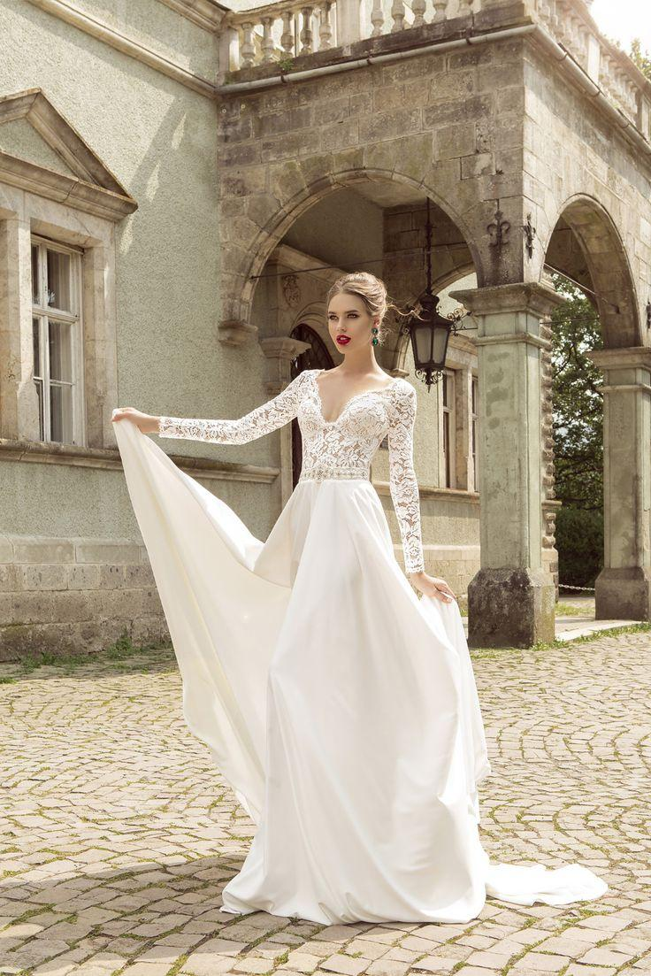 Elegant v neck long sleeve with beading chiffon white lace for Long sleeve chiffon wedding dress