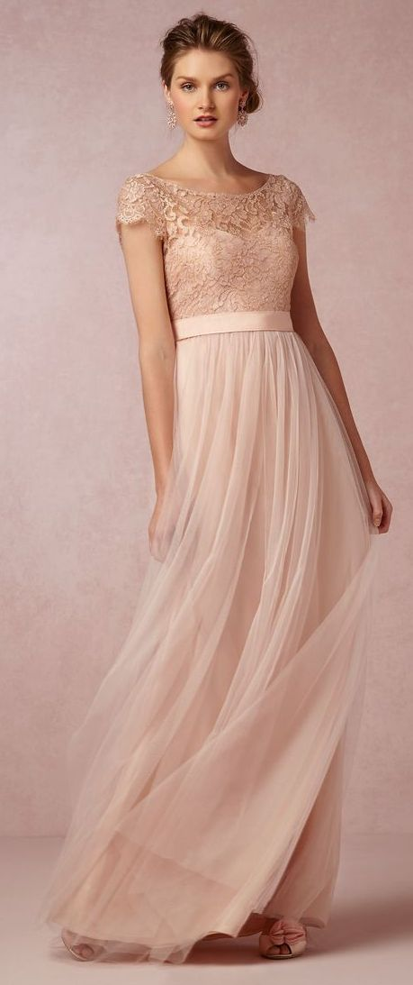 2017 Country A Line Bridesmaid Dresses With Cap Sleeves Long Chiffon Skirt Pink Lace Gowns From Meetdresse