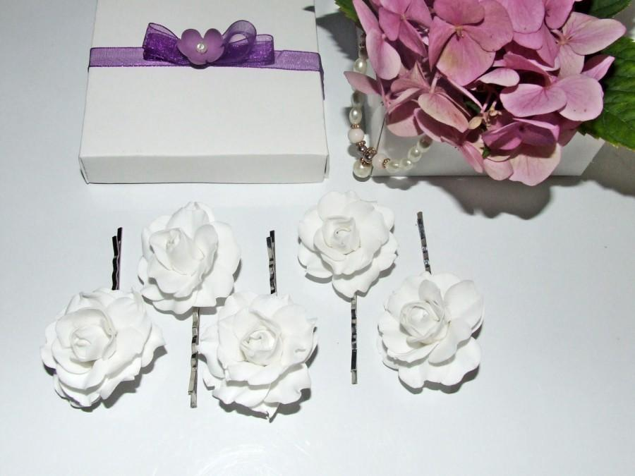 زفاف - Wedding barrettes, bridal barrettes, bridal hair pins, flower hairpin, hairpin flower, white roses hairpin, wedding hair pin, bridal hairpin