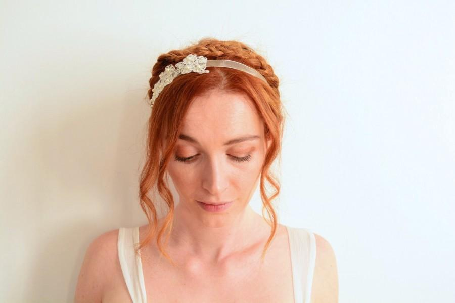 Mariage - Off white bridal headband lace appliqué & Swarovski pearls embroided