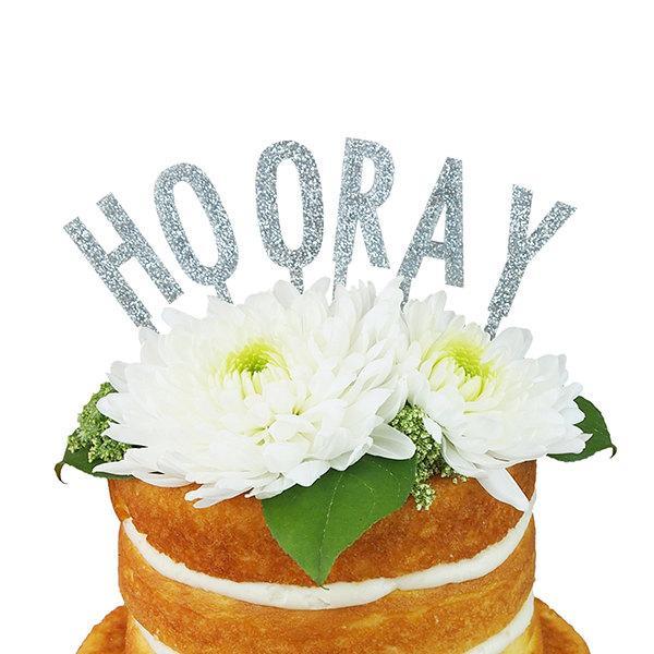 Wedding - Hooray Silver Glitter Acrylic Cake Topper