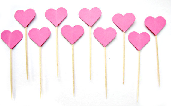 Wedding - 10 Hot Pink Heart Cupcake Toppers - wedding, engagement, birthday, baby shower, tea party
