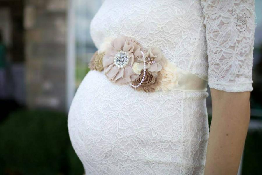 Mariage - SALE limited time SALE Beige Maternity Sash,Maternity belt, Pregnancy sash, Flower sash, Couture flower sash