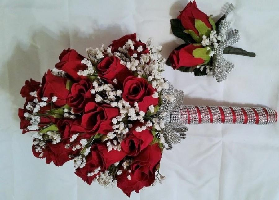Свадьба - Red rose bridal bouquet and boutonniere set, Red rose brides bouquet, Red rose  wedding bouquet, Red rose Bouquet, Red bouquet