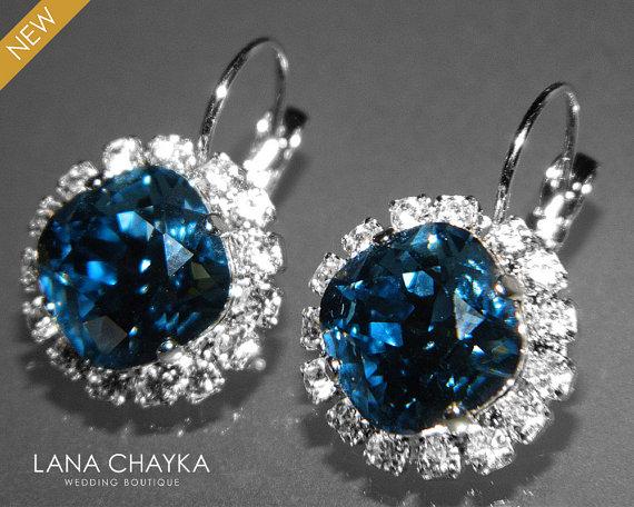 Denim Blue Crystal Halo Earrings Swarovski Rhinestone Leverback Hypoallergenic Earring Wedding Bridal Bridesmaids Jewelry