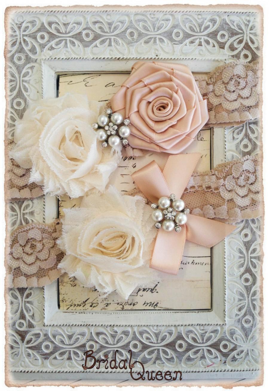 Hochzeit - Lace Wedding Garter Set,  Bridal Garter Set, Lace Wedding garter Set, Lace Garter Set - Champagne Lace, Cream and Blush Flowers