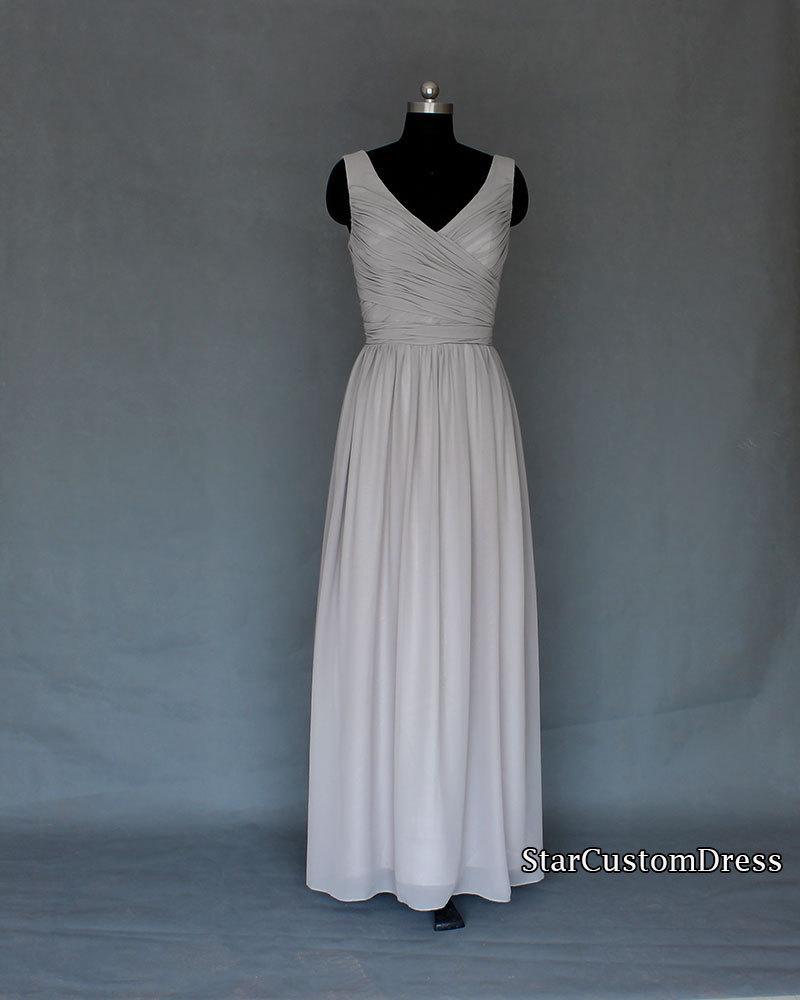 Mariage - Silver/Grey Bridesmaid Dress Long Bridesmaid Dress Long Convertible V-Neck Bridesmaid Dress