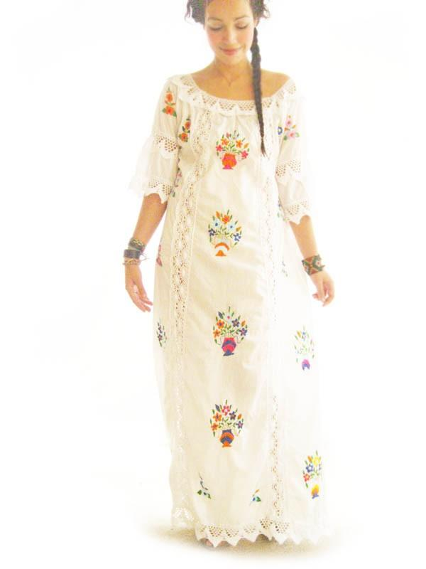 Katrina Mexico Romantic Ethnic Vintage Mexican Wedding Maxi Dress Lace Crochet Embroidered Off White Cotton Goddess 60s 70s