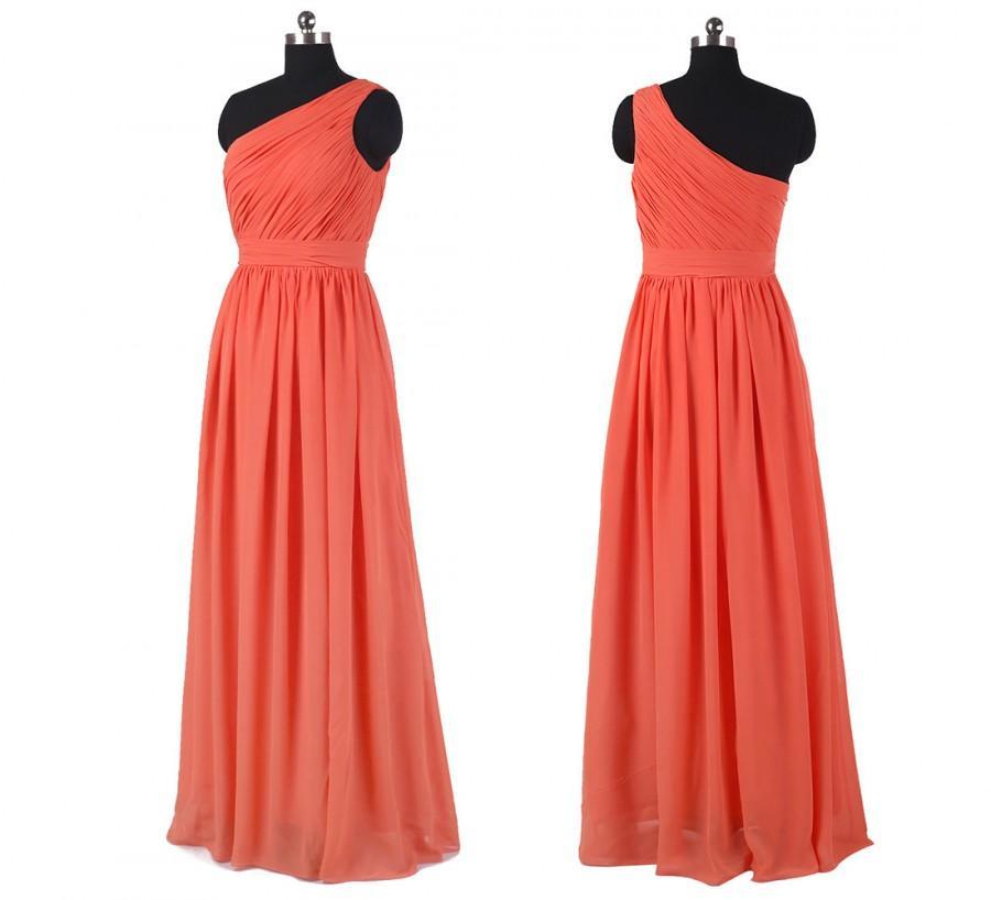 Mariage - Coral one shoulder bridesmaid dress long chiffon dress long convertible long prom dress