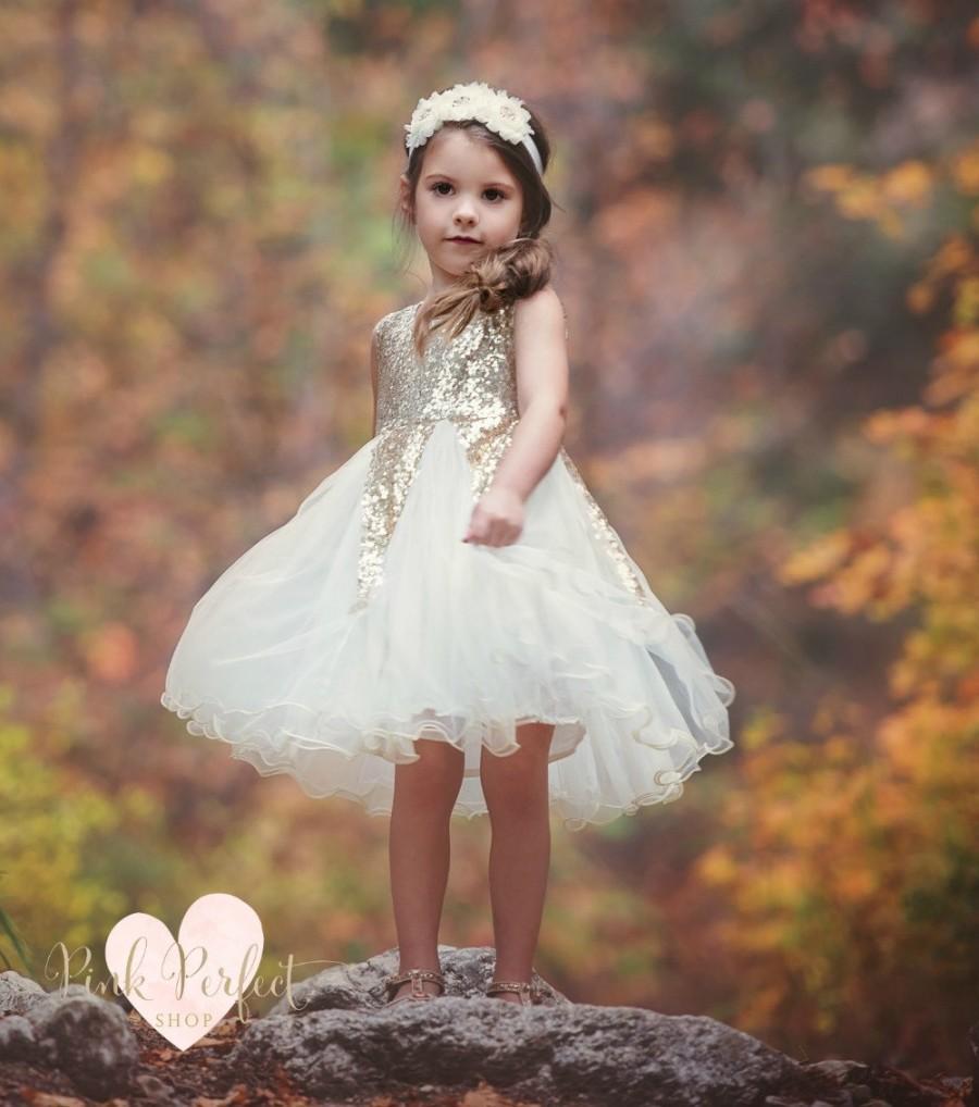 Hochzeit - Gold sequin Flower girl dress, Ivory and gold dress, Flower girl dresses, Birthday dress, Rustic Flower girl dress, Gold Tulle dress