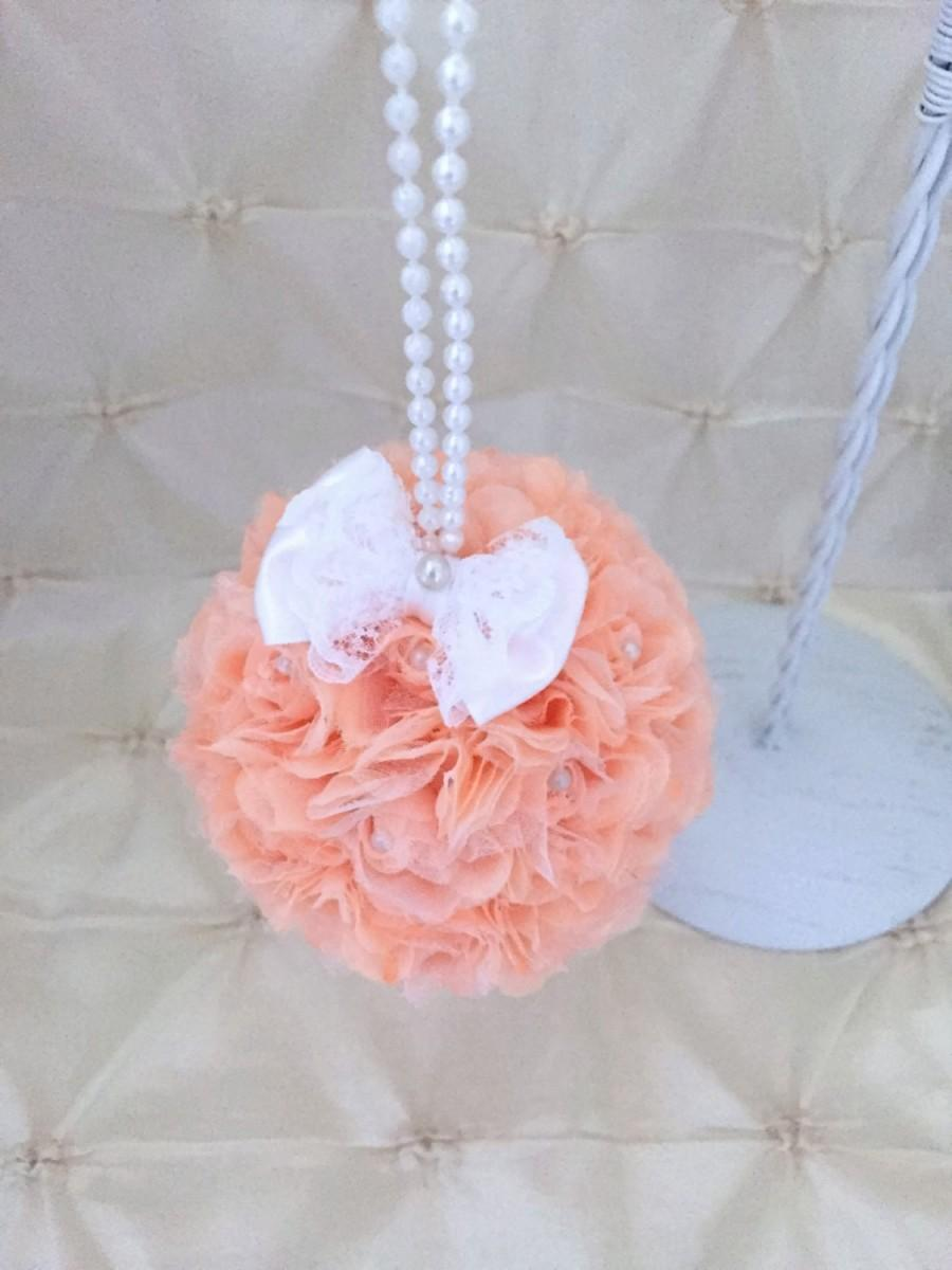 Peach Kissing Ball Wedding Pomander Flower Girl Flower Ball Pew Free
