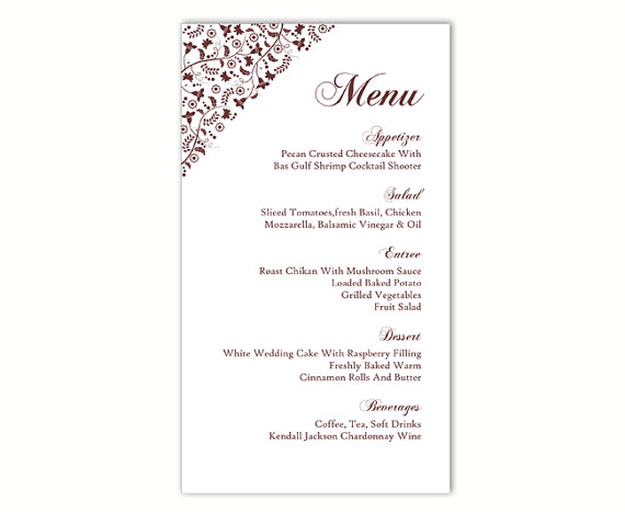 Wedding - Wedding Menu Template DIY Menu Card Template Editable Text Word File Instant Download Brown Menu Floral Menu Template Printable Menu 4x7inch