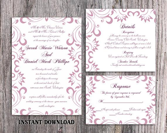 Hochzeit - DIY Wedding Invitation Template Set Editable Word File Download Printable Purple Invitation Lavender Wedding Invitation Elegant Invitation
