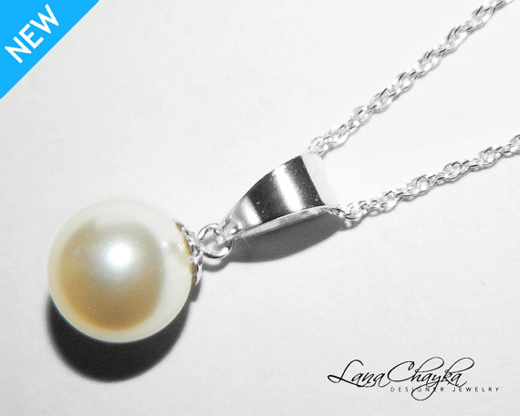 زفاف - Ivory Pearl Drop Necklace Single Pearl Sterling Silver Necklace Bridal Pearl Wedding Necklace Swarovski 10mm Pearl Necklace FREE US Shipping