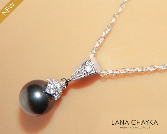 Black pearl drop necklace wedding small black pearl necklace black pearl drop necklace wedding small black pearl necklace swarovski 8mm pearl sterling silver cz necklace weddings black pearl jewelry aloadofball Image collections