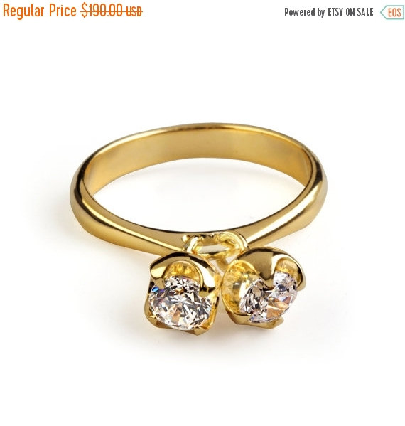Свадьба - SALE 20% OFF - CHARMS Gold Engagement Ring, Dangle Charm Ring, Birthstone Ring, Mothers Ring, Dainty Gold Ring, Gemstones Ring, Birthstone C