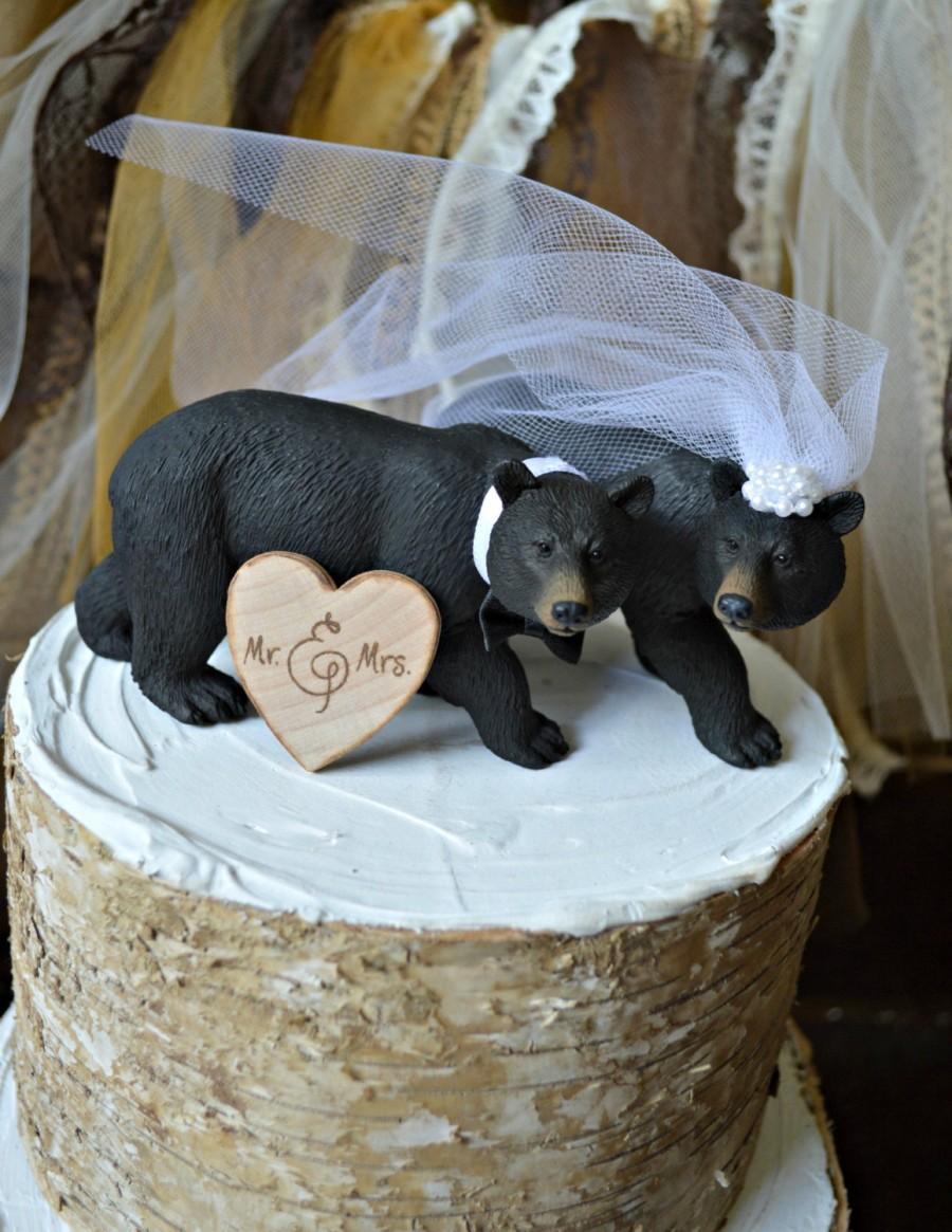Wedding - Black Bear Wedding Cake Topper-Bear Cake Topper-Hunting Cake Topper
