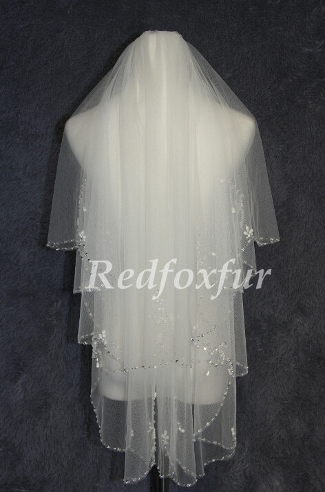 Mariage - wedding veil Crystal Pearl edged Bridal Veil White Elbow length with beaded comb ,Wedding headdress mantilla veil