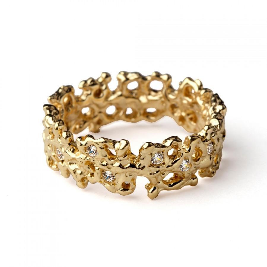 Свадьба - CORAL Unique Wedding Band Ring, Gold Diamond Wedding Band, Organic Gold Ring, Diamond Eternity Band, Gold Diamond Ring Band