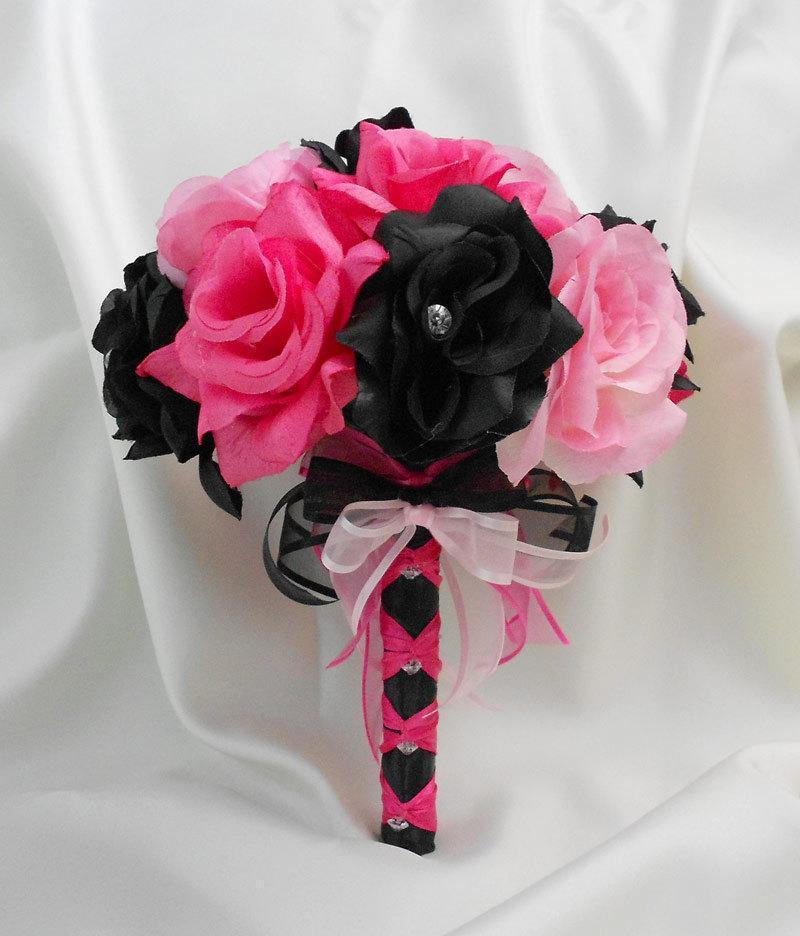 Wedding Bridal Bouquet Your Colors Hot Pink Black Pink Bridesmaids