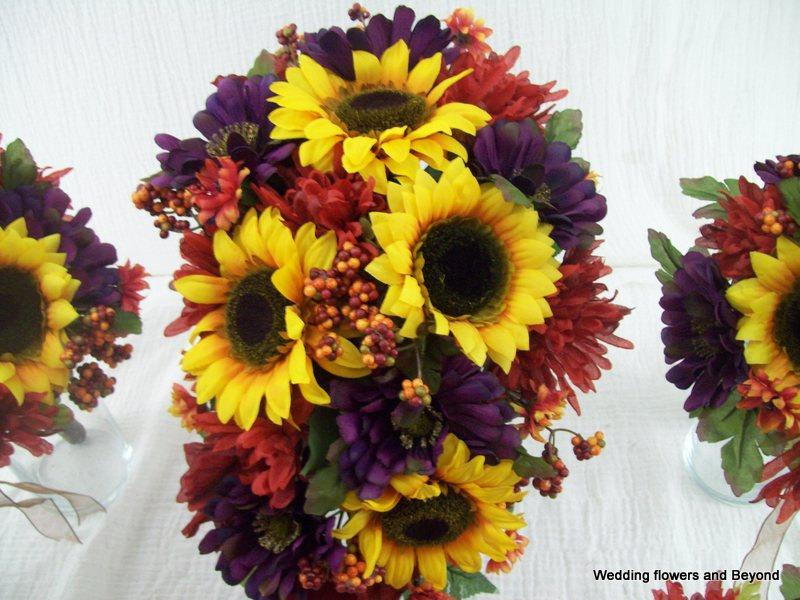 Mariage - 10 piece MaDe To ORDeR FaLL WeDDiNG SiLK Flower Package SuNFLoWeRS BouQueTS and BouToNNieRS