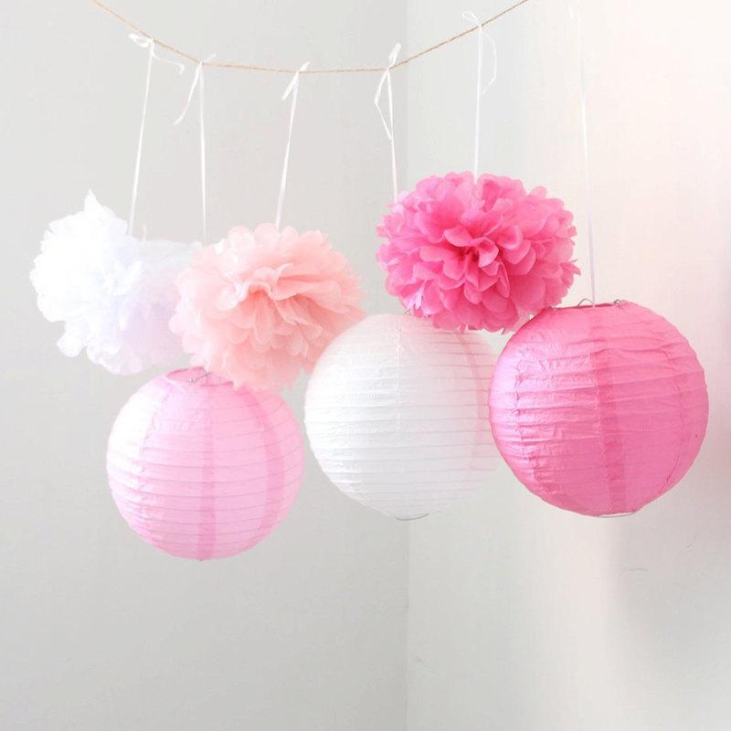 Mariage - Set of 9 Mixed Pink Fuchsia White Tissue Paper Pom Poms and Paper Lantern Wedding Garland Bridal Shower Birthday Party Hanging Decoration