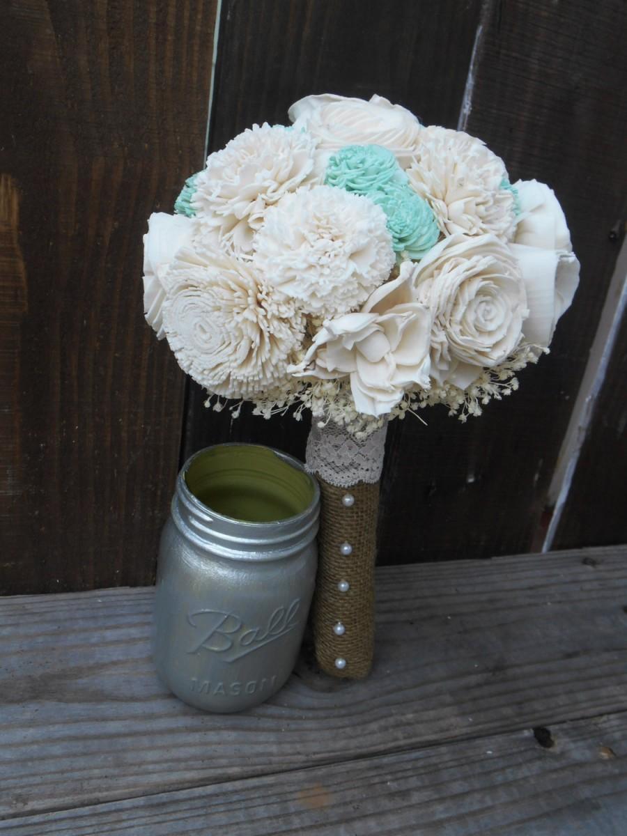 Mariage - Mint Bridal Bouquet, Wedding Bouquet, Keepsake Bouquet, Bridesmaid Bouquet, Rustic Wedding