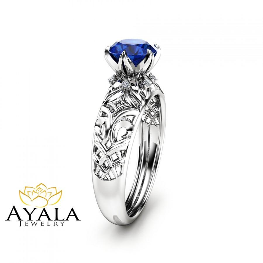 Mariage - 1CT Natural Blue Sapphire Ring 14K White Gold Ring Sapphire Engagement Ring Choose Your 1ct Gemstone Ring