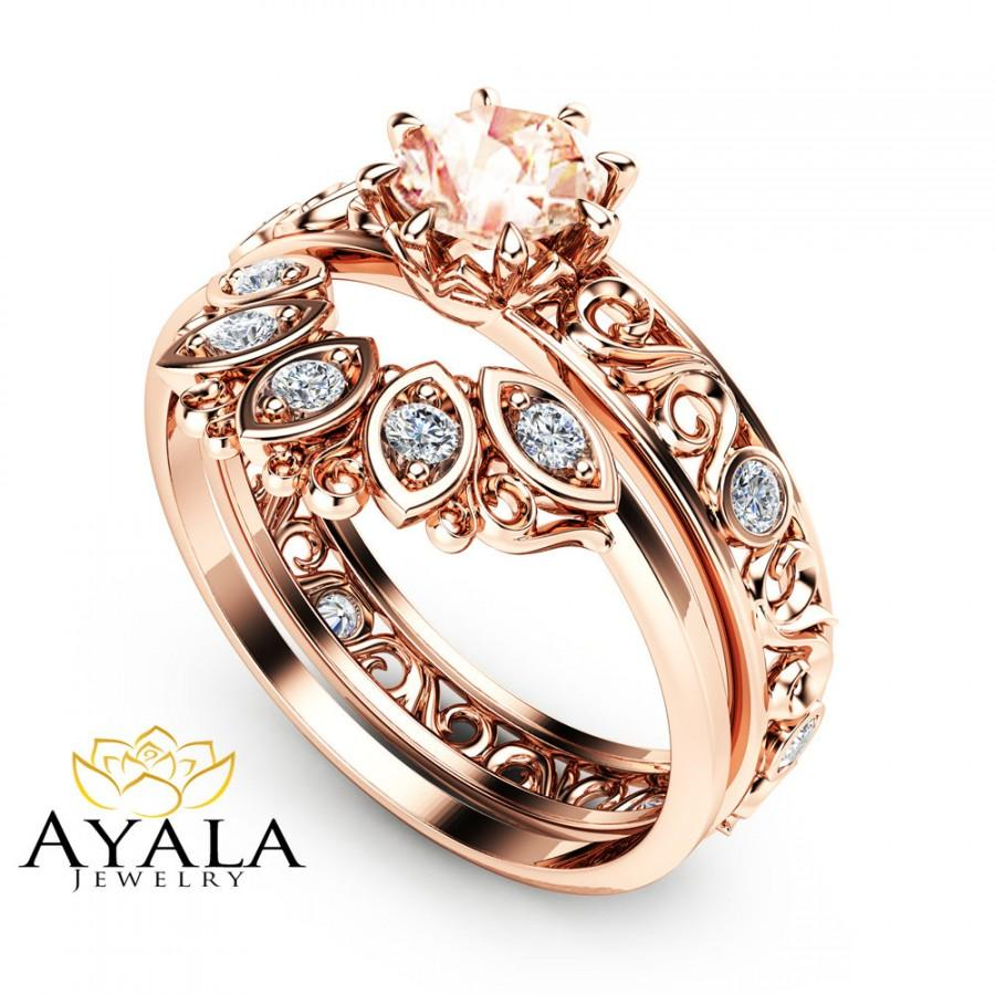 filigree design morganite wedding ring set in 14k rose gold unique peach pink morganite engagement set art deco styled wedding ring set - Unique Wedding Ring Set