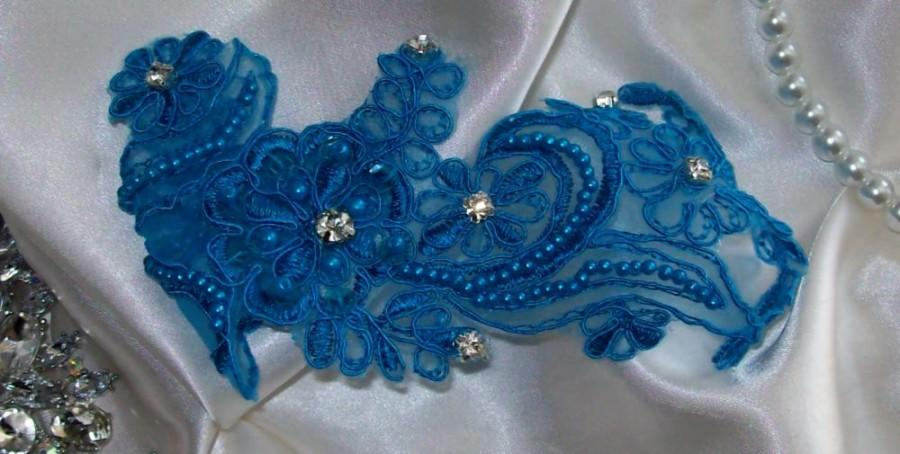 Mariage - Bright Blue Garter Set,Wedding Accessories,Wedding Lace,Lace Garter Set,Something Blue Garter Set,Bridal Garter Set,Blue Wedding Garter