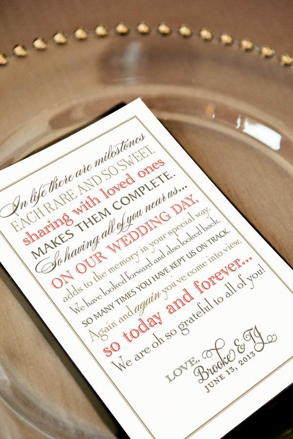 Wedding Thank You Note For Guests Printable File Calligraphy Unique Poem Gold Red Gray Reception Welcome Bag Favor Tag