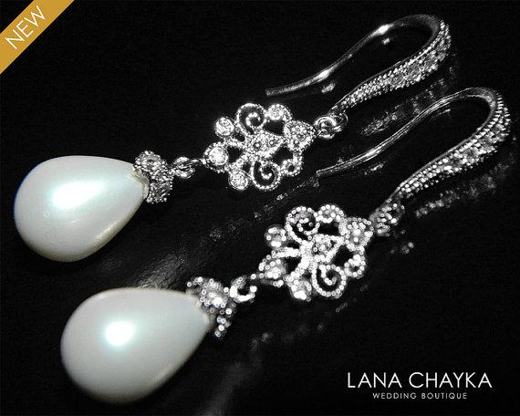 White Teardrop Pearl Chandelier Earrings Dangle Silver Bridal S Wedding Jewelry