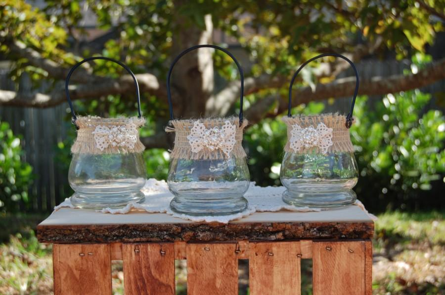 Rustic candle holders flower vase shabby chic