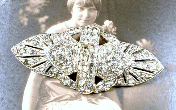 Mariage - Art Deco Hair Comb OR Sash Brooch, Antique 1920s Large Rhinestone Wedding Dress Buckle or Bridal Head Piece, Paste Great Gatsby Hairpiece