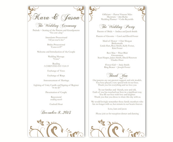 Wedding - Wedding Program Template DIY Editable Text Word File Download Program Gold Wedding Program Floral Program Printable Program 4x9.25inch