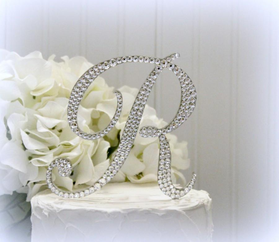 "Mariage - 5"" Monogram letter Wedding Cake Topper. Cake Topper Initial Monogram Swarovski Crystals A B C D E F G H I J K L M N O P Q R S T U V W X Y Z"