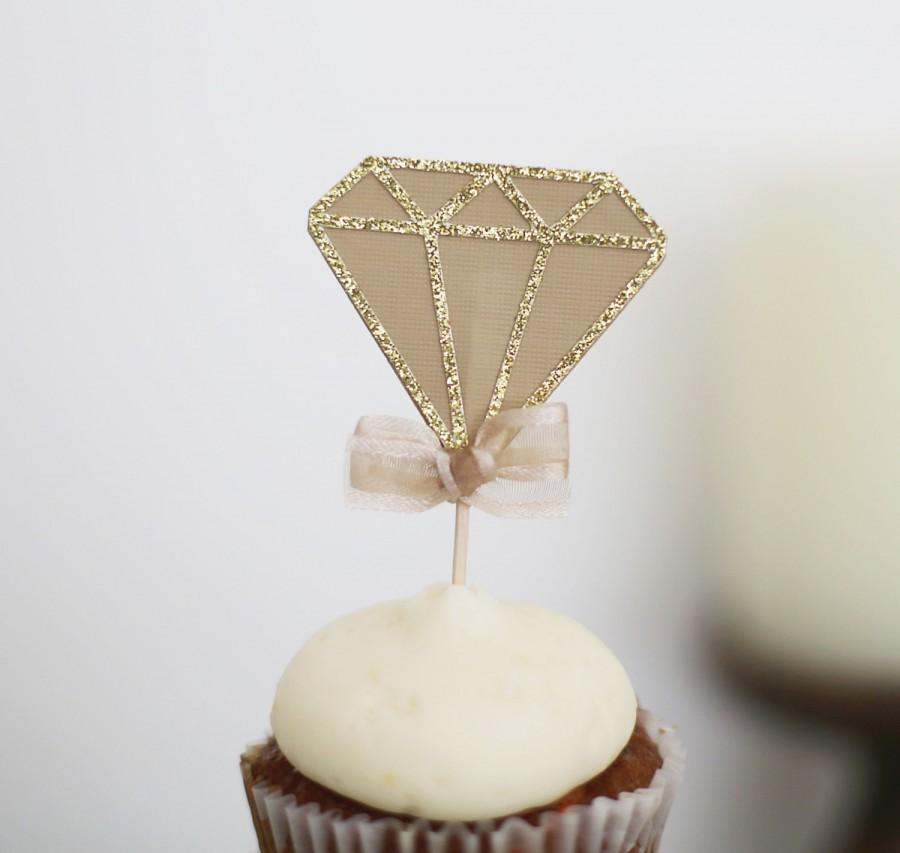 12 Diamond Cup Cake Toppers Bachelorette Party Decorations Bridal
